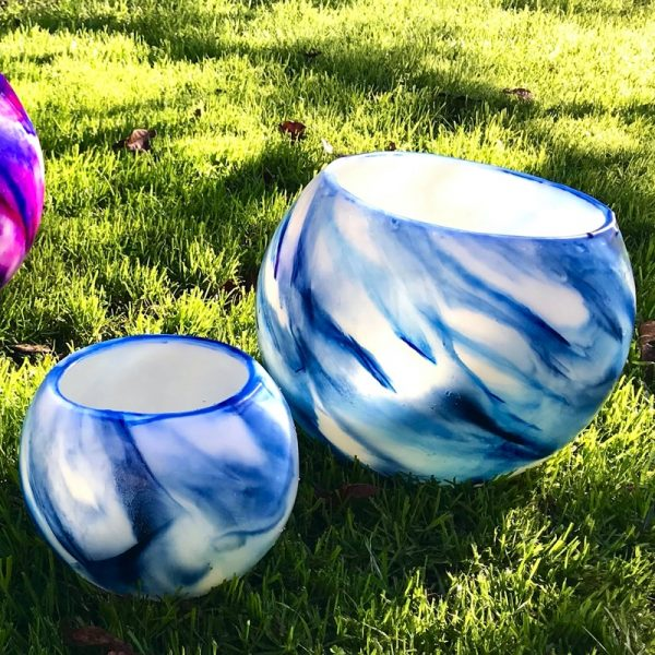Example of a Twin-set - large and small Blue on Blue Flare Lanterns. Photo by Integrity Candles.