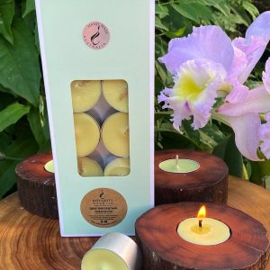 Lime, Lemongrass and Cederwood scented tea-light cups burn brightly for eight hours each. Presented in a 10 pack windowed gift-box.