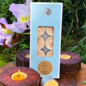 Vanilla Bean scented tea-light cups burn brightly for eight hours each. Presented in a 10 pack windowed gift-box.