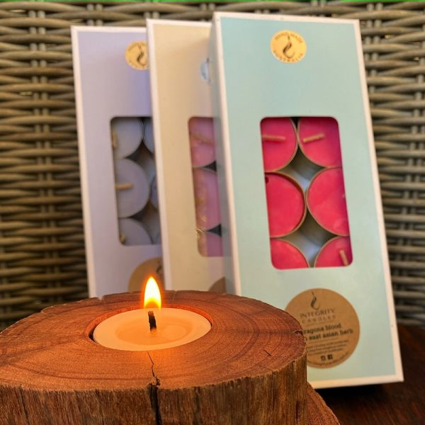 Three gift-boxed 10-packs of Pure Soy Tea-lights. Eleven essential oil fragrances available.