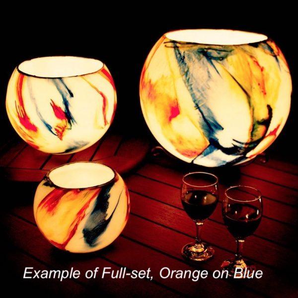 Example of Full-set, Orange on Blue Design.